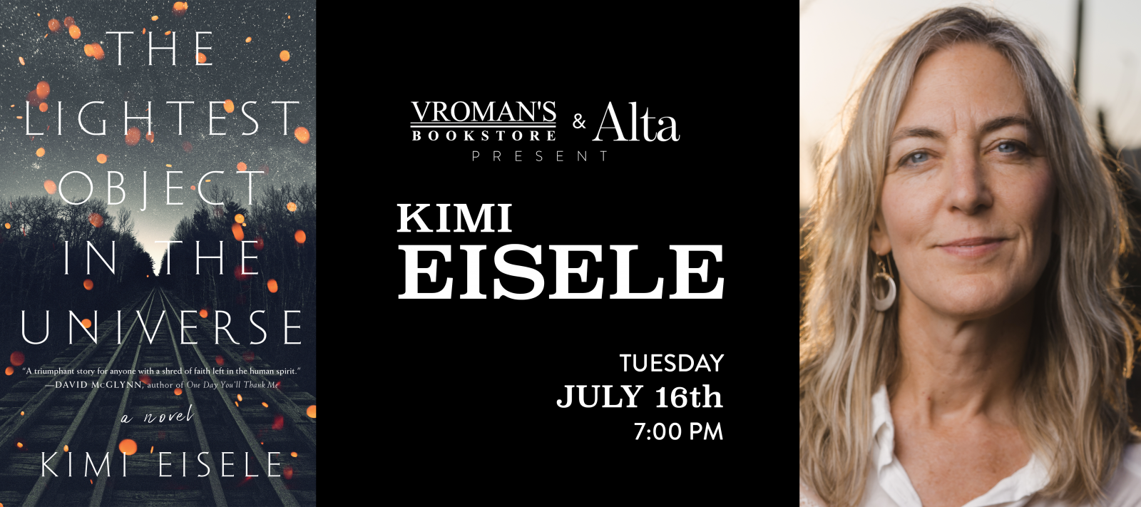 Kimi Eisele book signing Tuesday July 16th at 7pm
