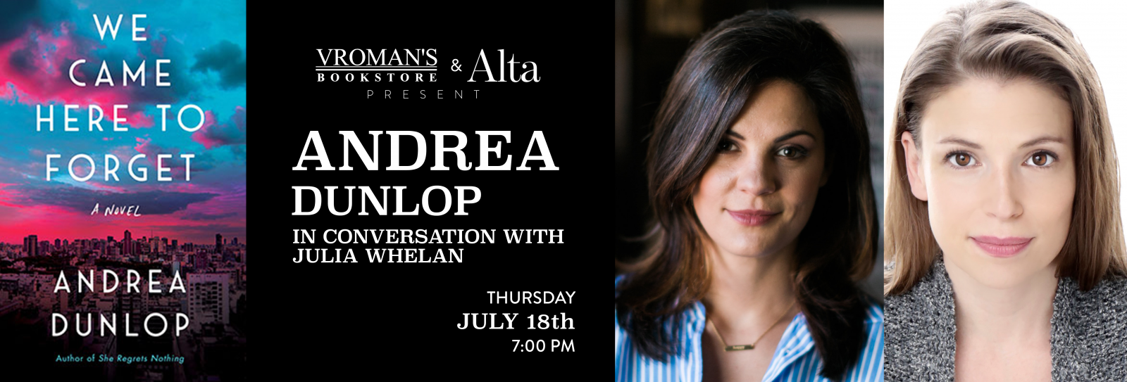 Andrea Dunlop book signing Thursday July 18th at 7pm