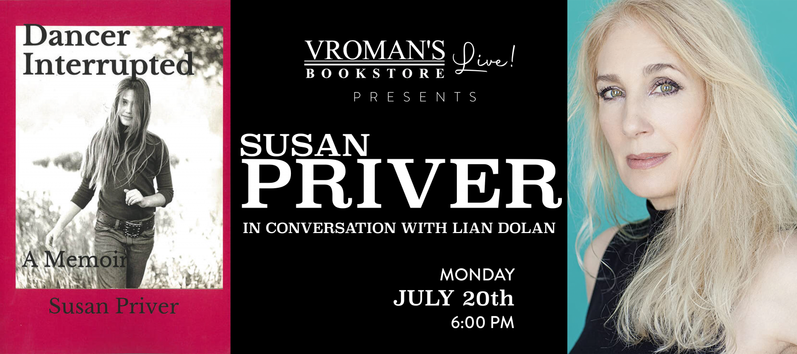 Vroman's LIve - Susan Priver, in conversation with Lian Dolan, on Monday July 20th at 6pm