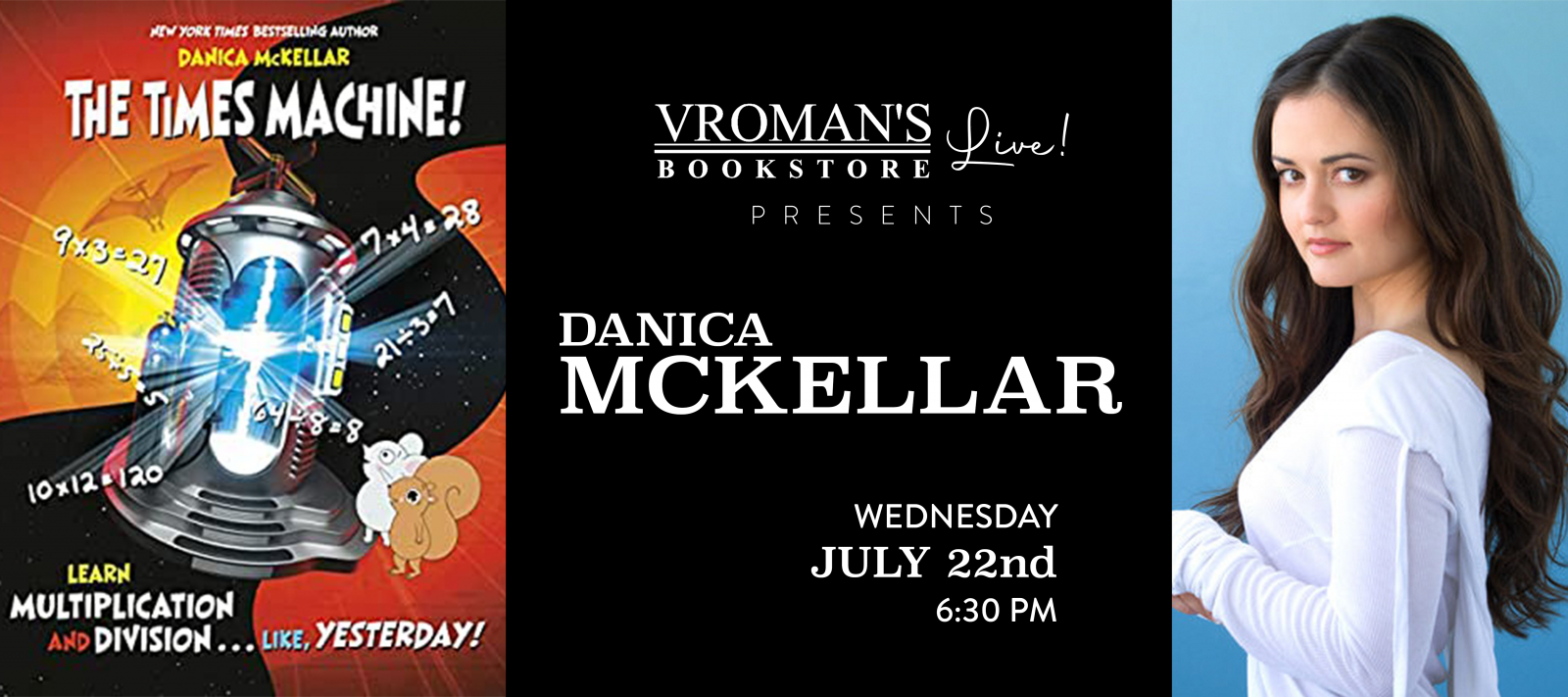 Vroman's Live presents Danica McKellar  on Wednesday July 22nd at 6:30pm