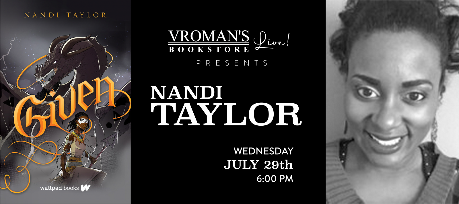Vroman's Live present Nandi Taylor on Wednesday on July 29th at 6pm