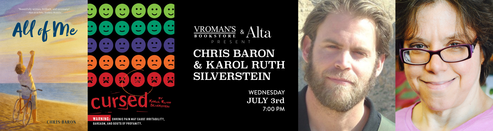 karol ruth silverstein and chris baron book signing July 3rd