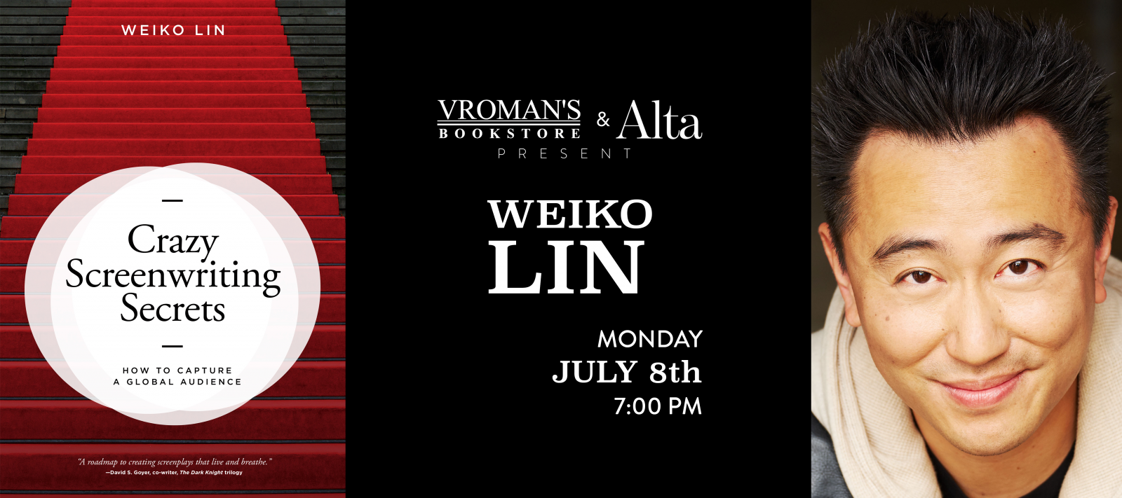 Weiko Lin book signing, Monday July 8th at 7pm