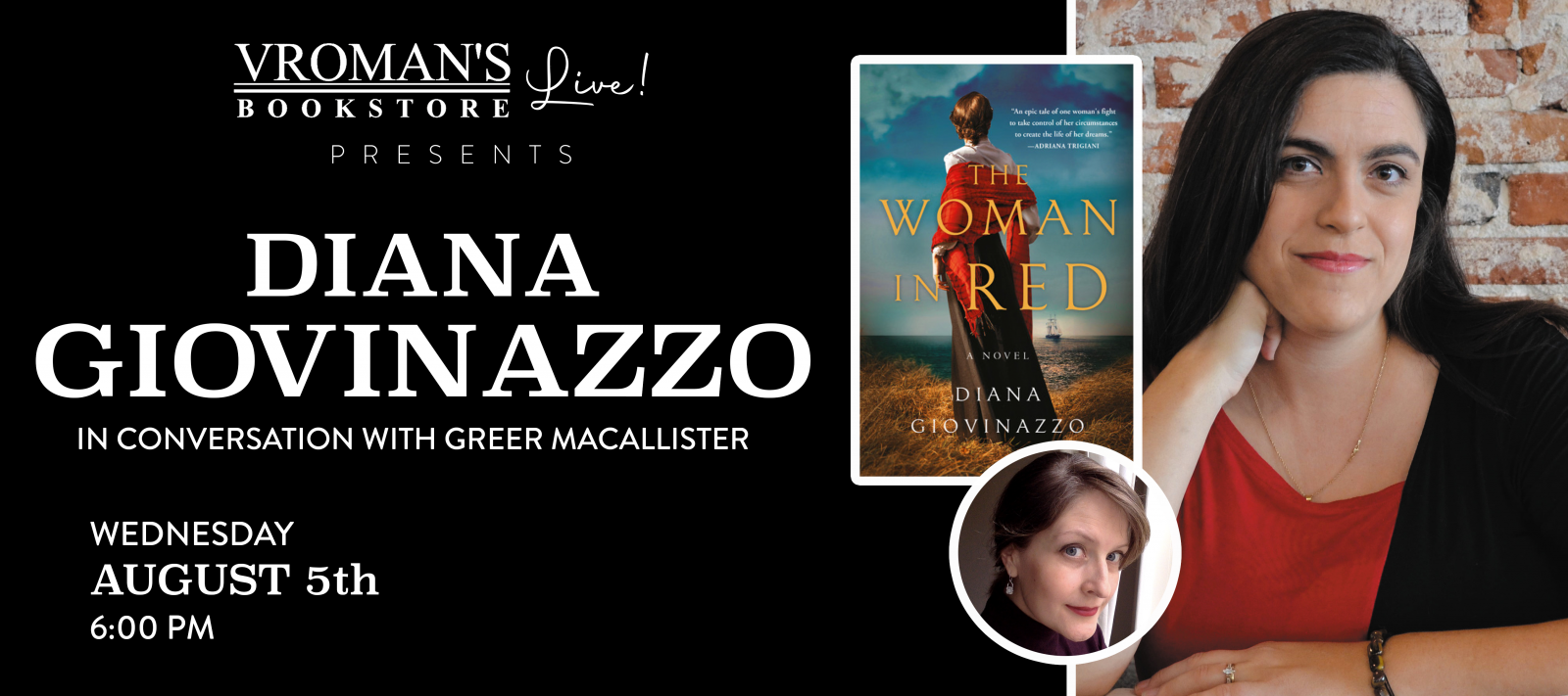 Vroman's Live present Diana Giovinazzo, in conversation with Greer MacAllister, on Wednesday August 5th at 6pm