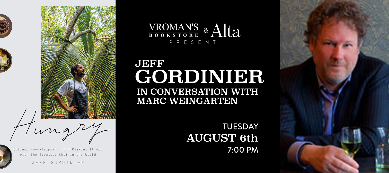 Jeff Gordinier book signing Tuesday August 6th at 7pm