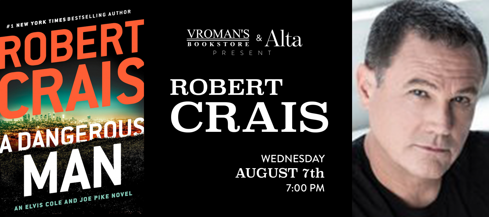 Robert Crais book signing Wednesday August 7th at 7pm