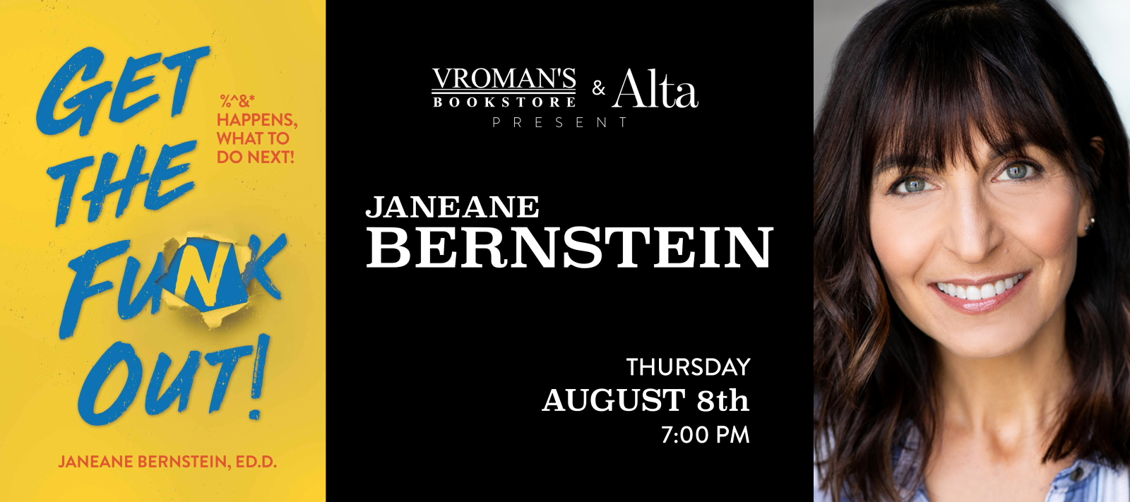 Janeane Bernstein book signing Thursday August 8th at 7pm