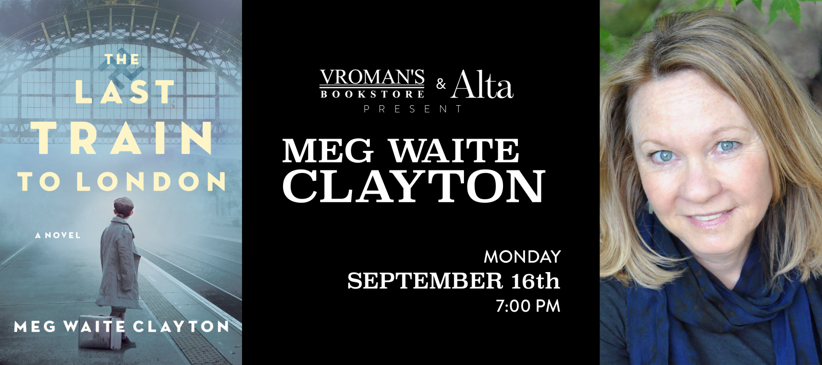 Meg Waite Clayton book signing Monday September 16 at 7pm