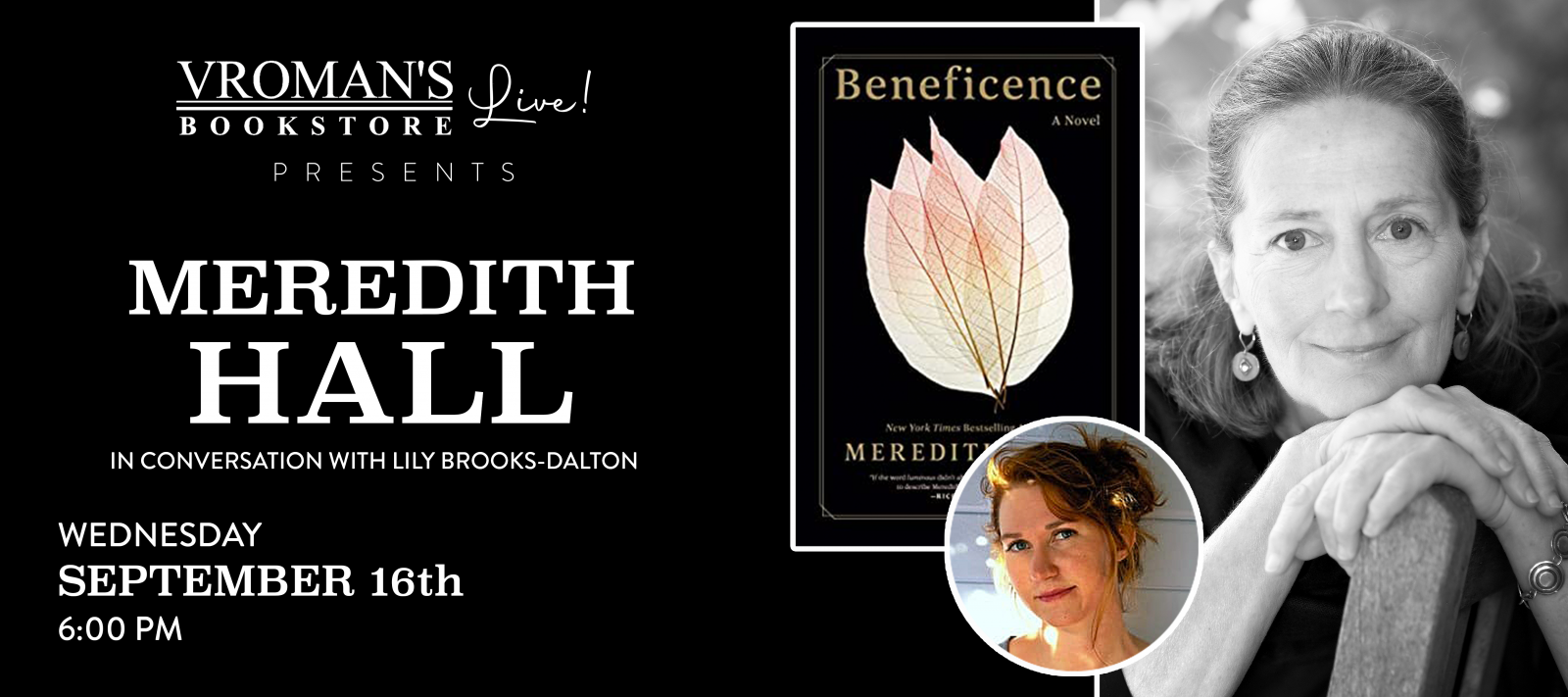 Vroman's Live presents Meredith Hall in conversation with Lily Brooks-Dalton on Wednesday September 16 at 6pm