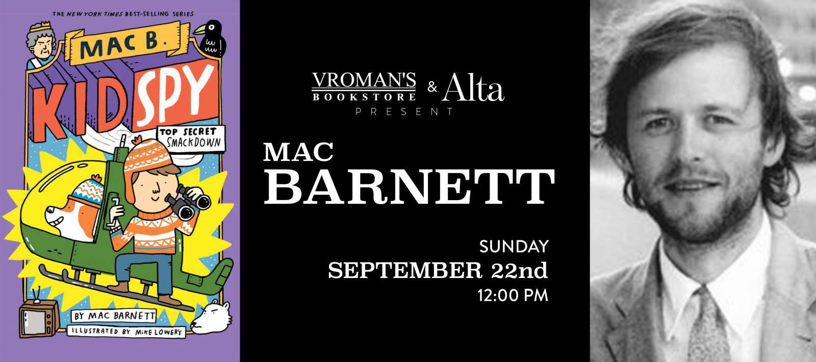 Book Signing with Mac Barnett September 22 at 12pm