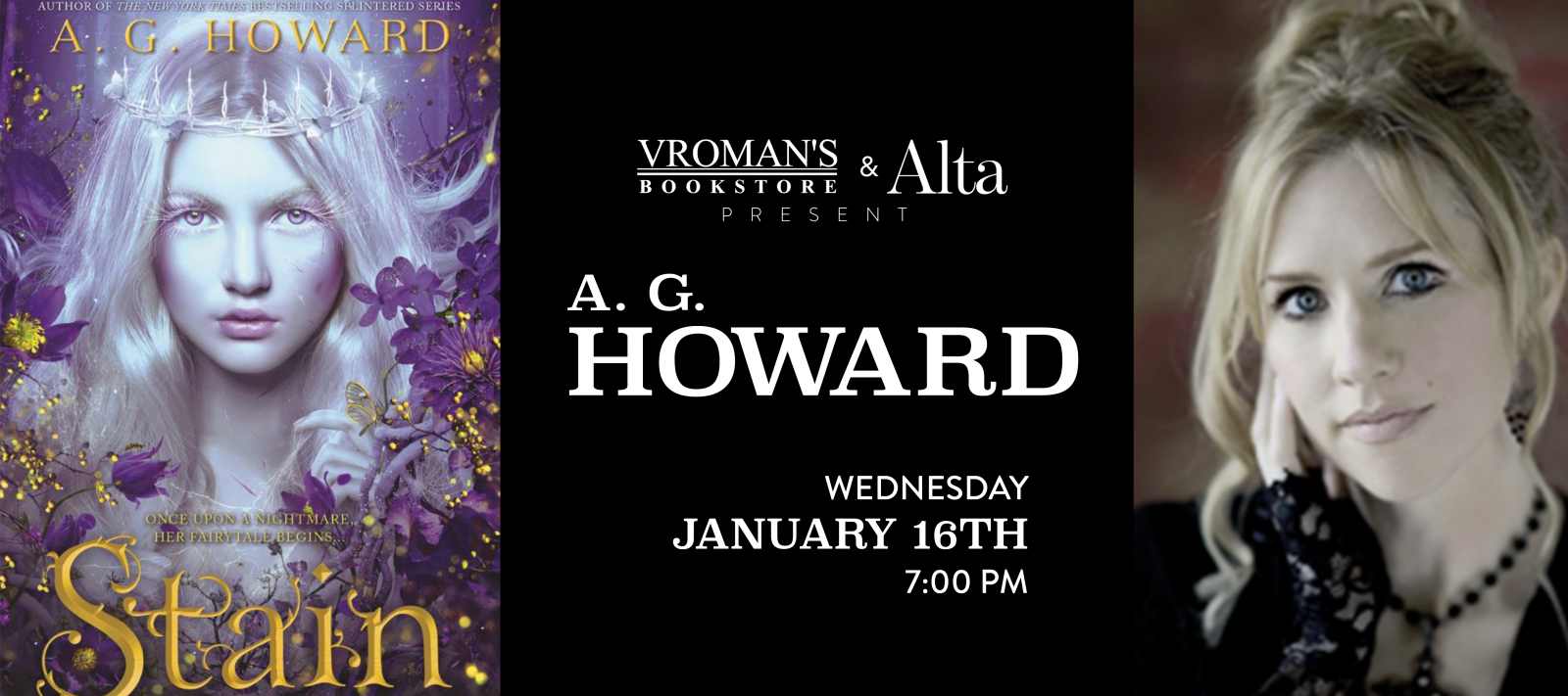A.G. Howard Wednesday January 16th at 7pm
