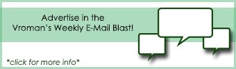 "Banner with the text ""Advertise in the Vroman's Weekly E-mail Blast"""