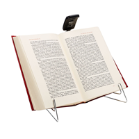 Image of Black Ultrathin Book Light Clipped on Book