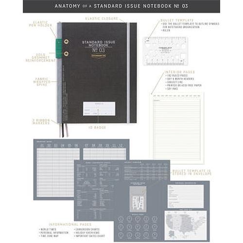 image of Black Standard Hardcover Journal components