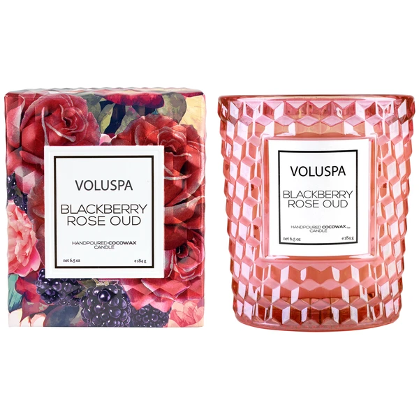 Blackberry Rose Oud Textured Glass Candle