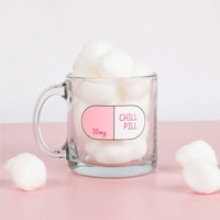 Image of Chill Pill Glass Mug filled with large marshmallows
