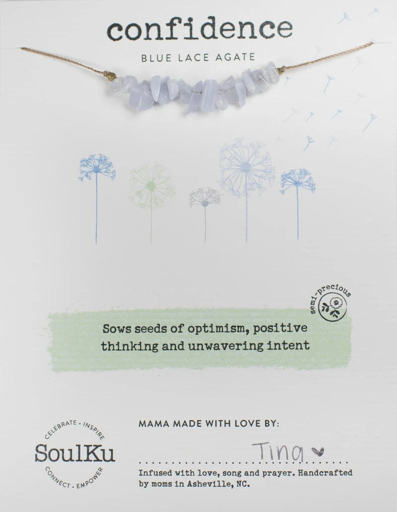 Image of Blue Lace Agate Seed Necklace Package