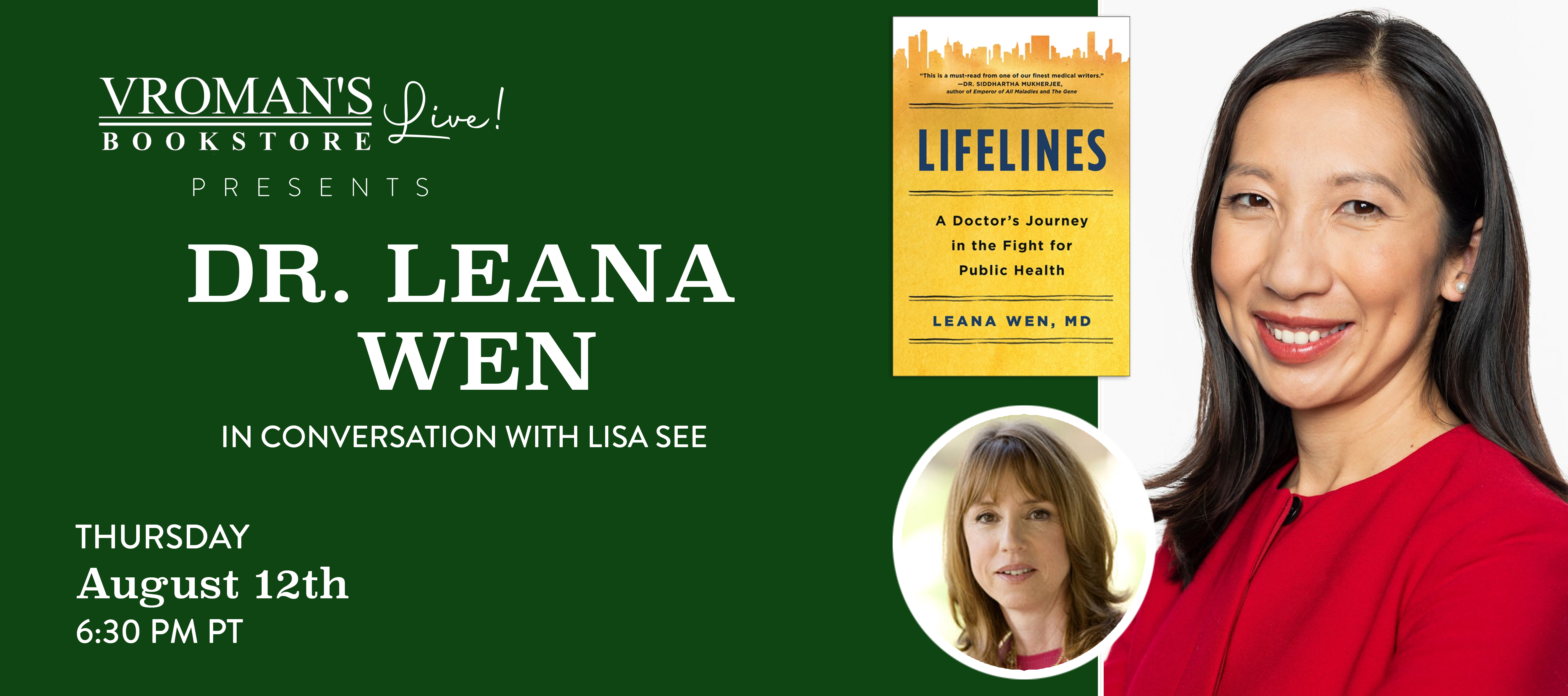 Image of Banner for Dr. Leana Wen, in conversation with Lisa See, discusses Lifelines: A Doctor's Journey in the Fight for Public Health