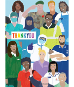 Image of a group of essential workers with the words THANK YOU over them.