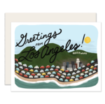 Image of Hollywood Hills with the words Greetings From Los Angeles in script above