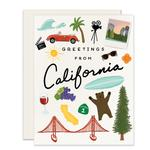 Image of California things with Greetings From California in the middle