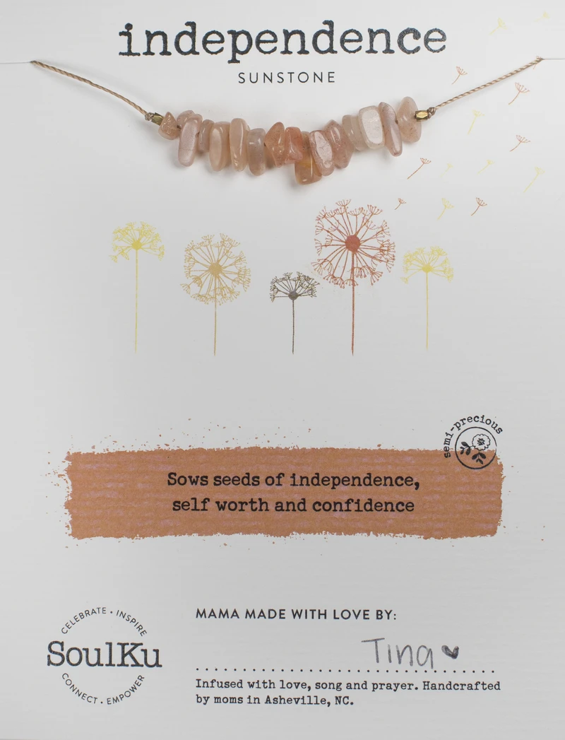 Image of Independence Sunstone Seed Necklace Package