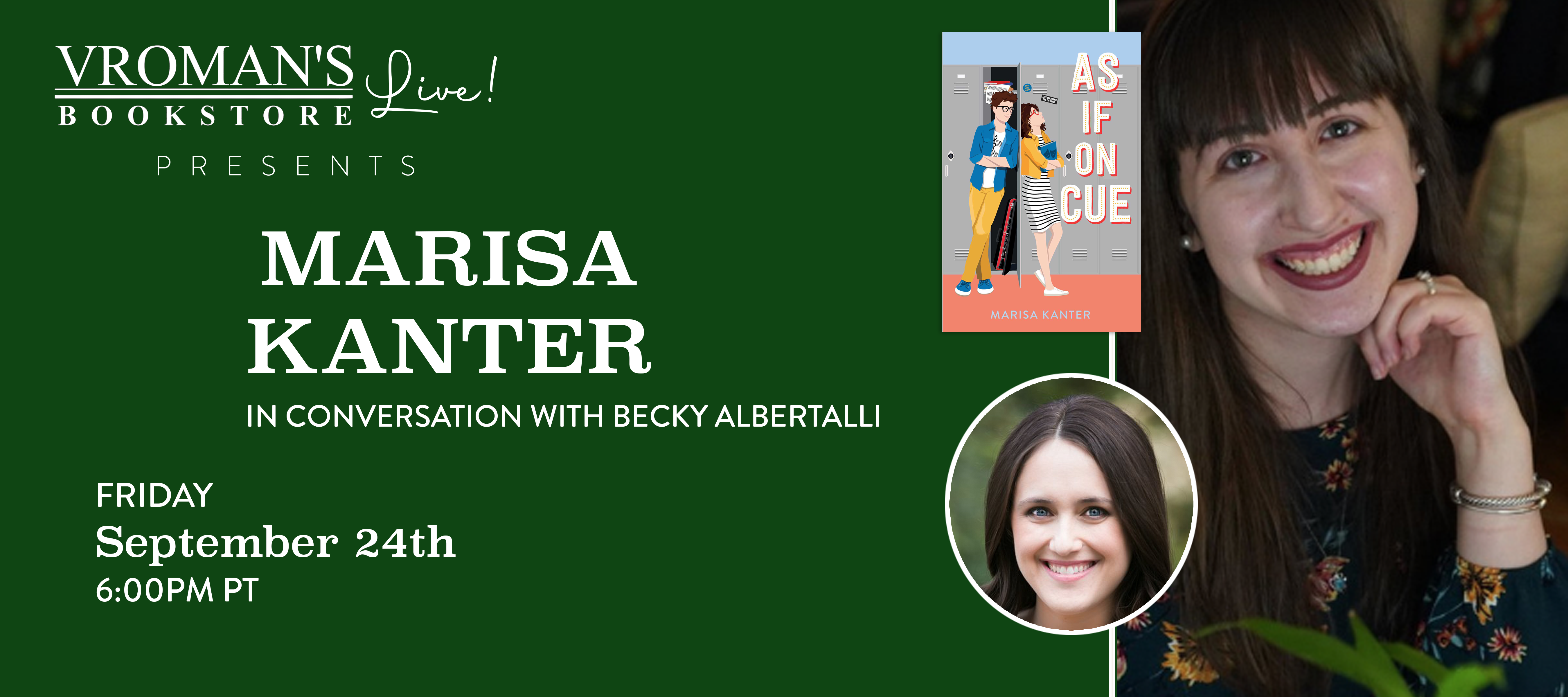 Green banner with details for event on Friday, September 24, 6pm  Marisa Kanter discusses As If on Cue