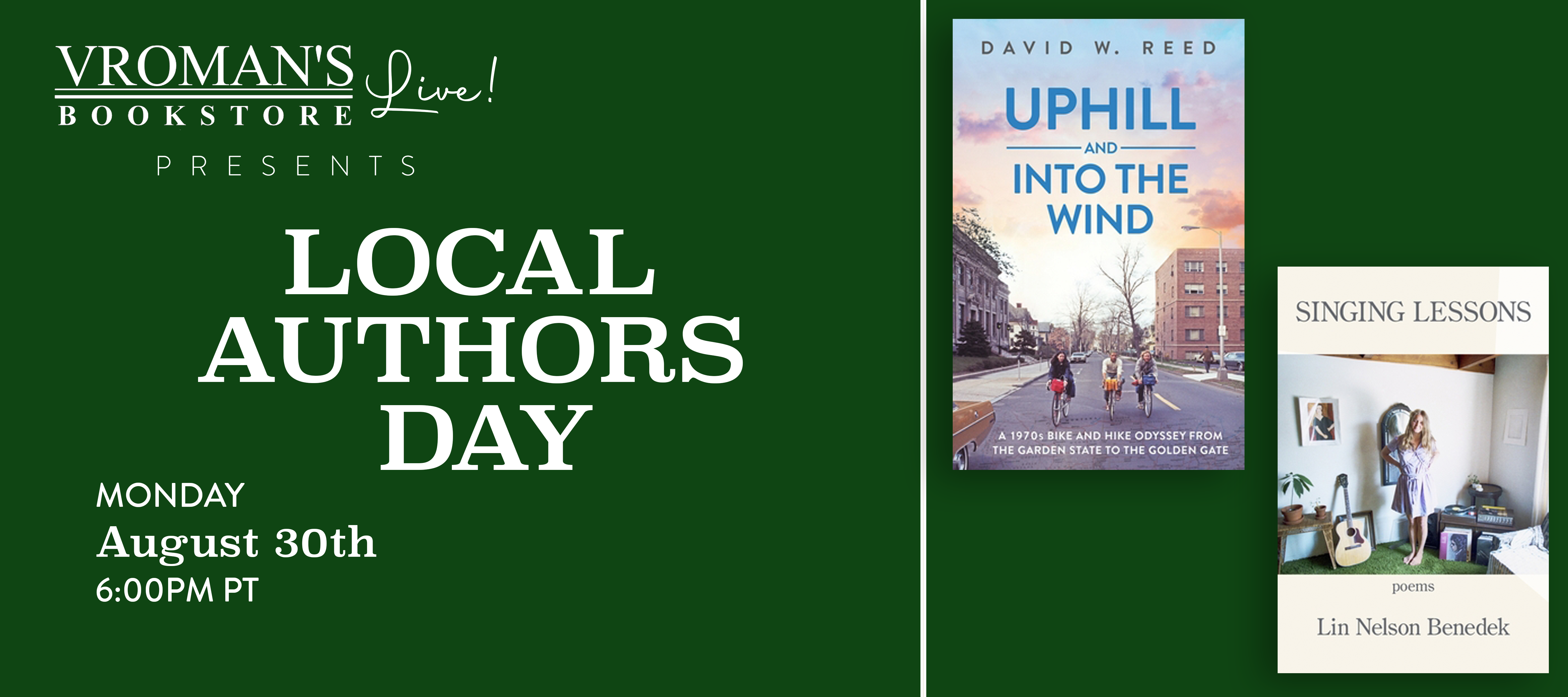 Image of Banner for Vroman's Local Author Day featuring David W. Reed and Lin Nelson Benedek