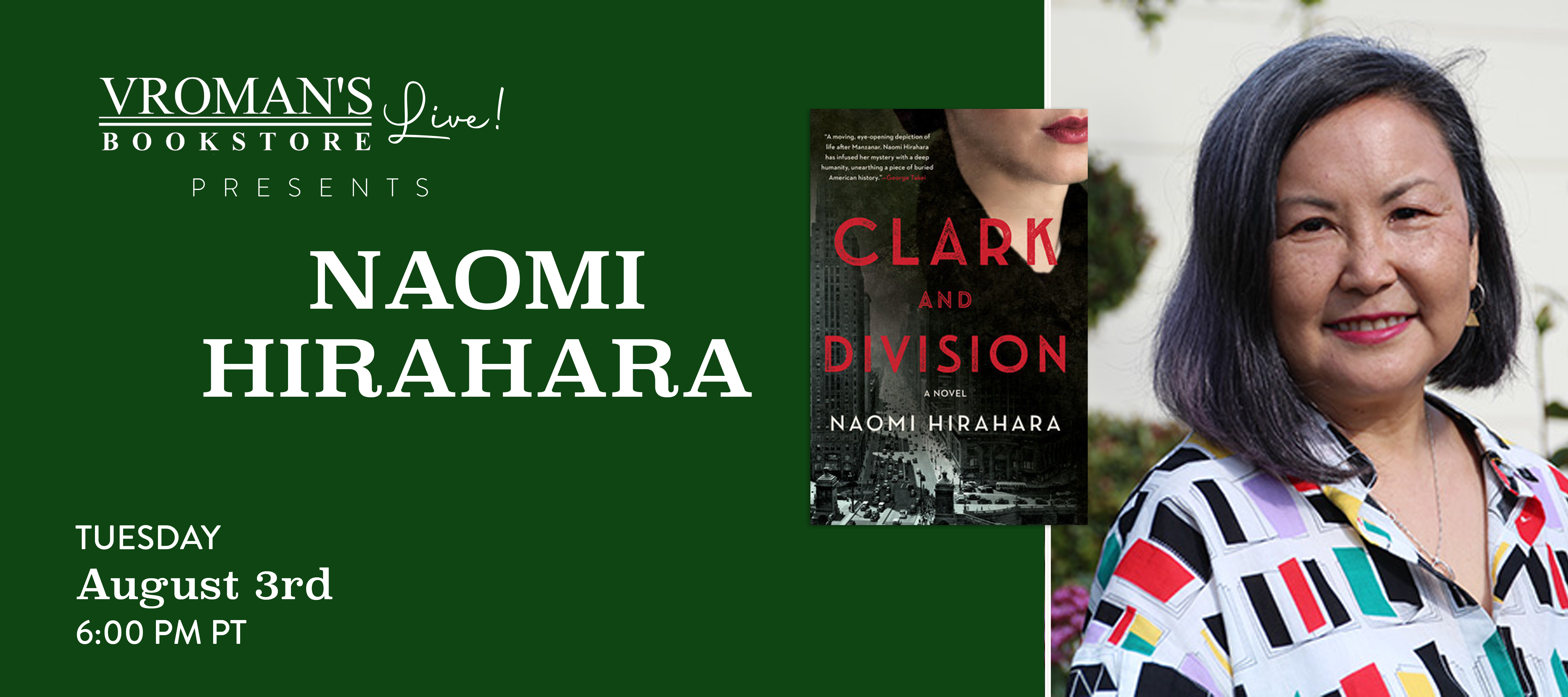 Image of Naomi HIrahara and her new book, Clark and Division
