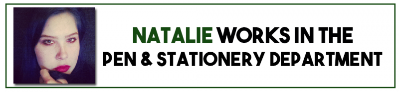 Natalie works in the pen and stationery department