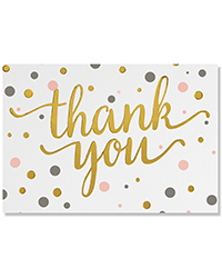 image of Pink and Gold Dots Boxed Thank You Cards