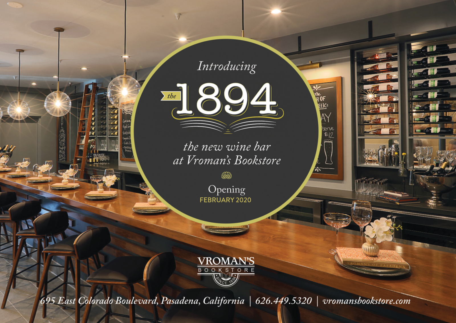 Introducing the new the 1894 Wine Bar at Vroman's Bookstore