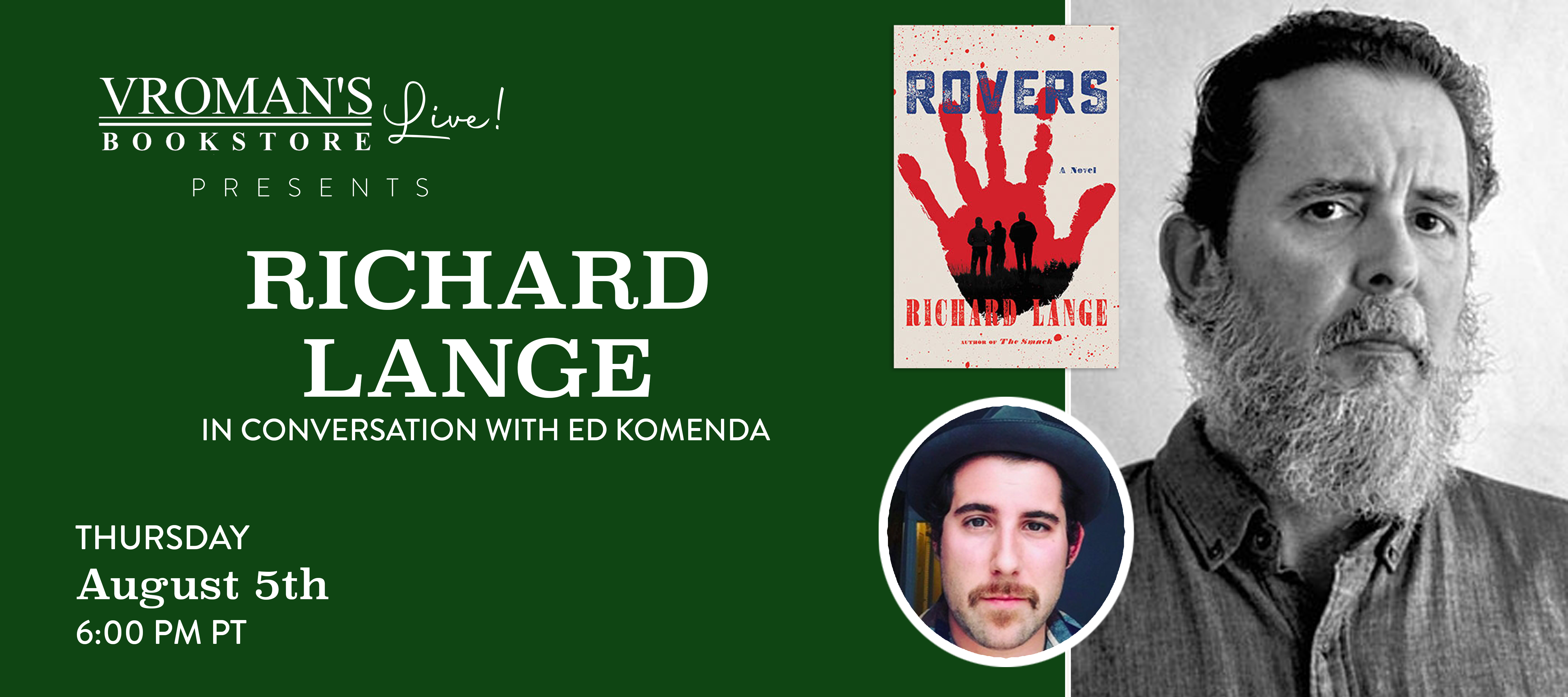 Image of banner for Richard Lange, in conversation with Ed Komenda, discusses Rovers