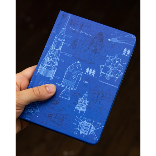 image of Rocketry Mini Hardcover Dot Grid Journal in hand for scale