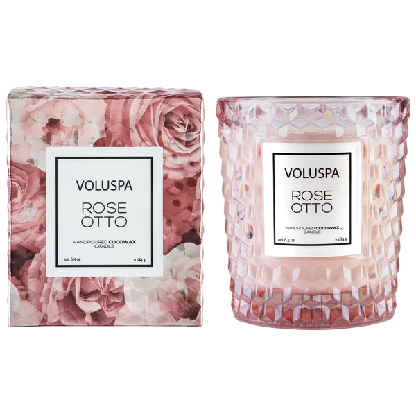 Rose Otto Textured Glass Candle