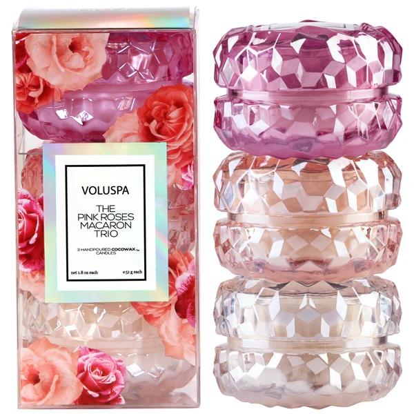 Roses Macaron Trio Candle Gift Set