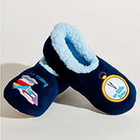 image of blue snoozies (dark blue with light blue lining)