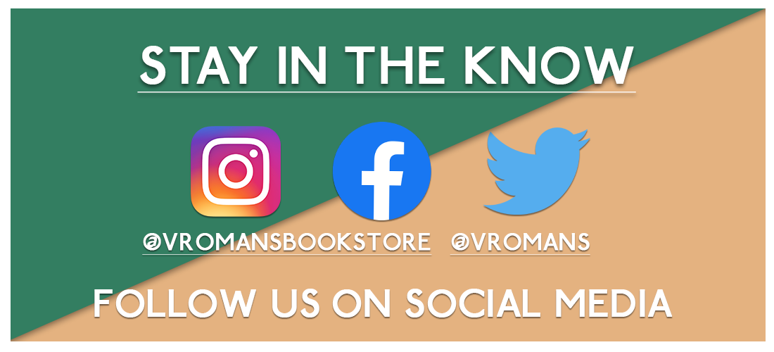 Image of green and brown banner with STAY IN THE KNOW advertising Vroman's social media - Instagram, Facebook, Twitter linked