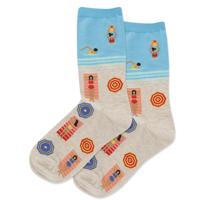 Image of Sunbathers Aqua Women's Crew Socks