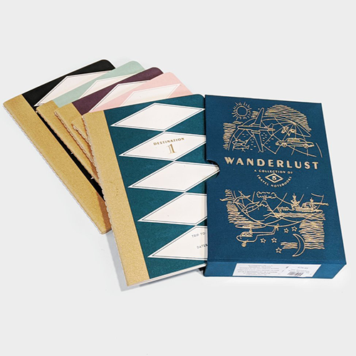 second image of all Teal Wanderlust Travel Journals in Box Set