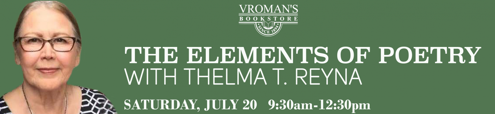 Elements of Poetry Workshop with Thelma Reyna, Saturday July 20th from 9:30am-12:30pm