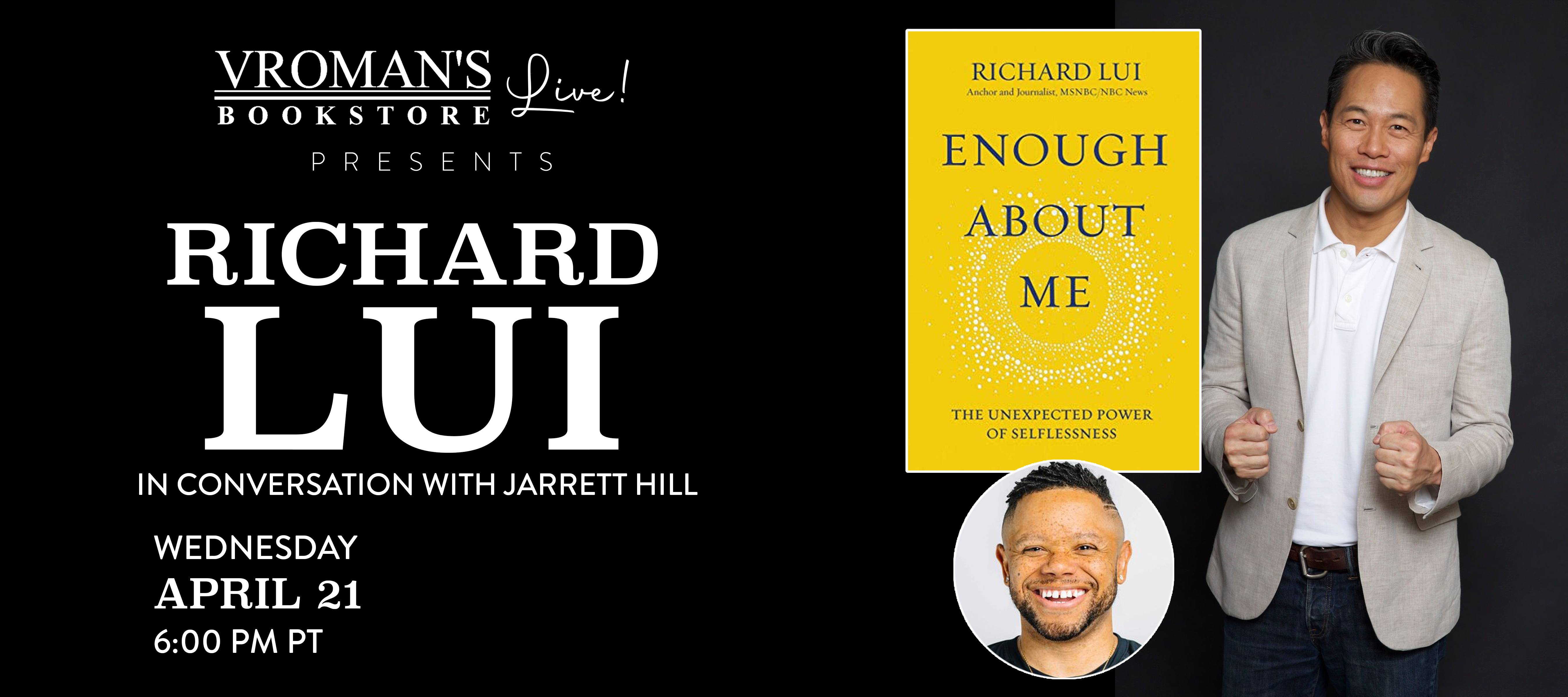 Richard Lui, in conversation with Jarrett Hill, on Wednesday April 21 at 6pm
