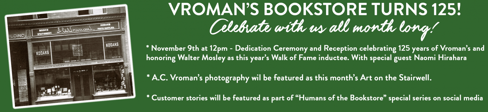 Vroman's Celebrates 125 years with special anniversary events