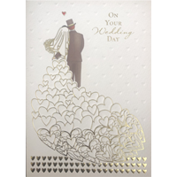Image of Gold Hearts Greeting Card