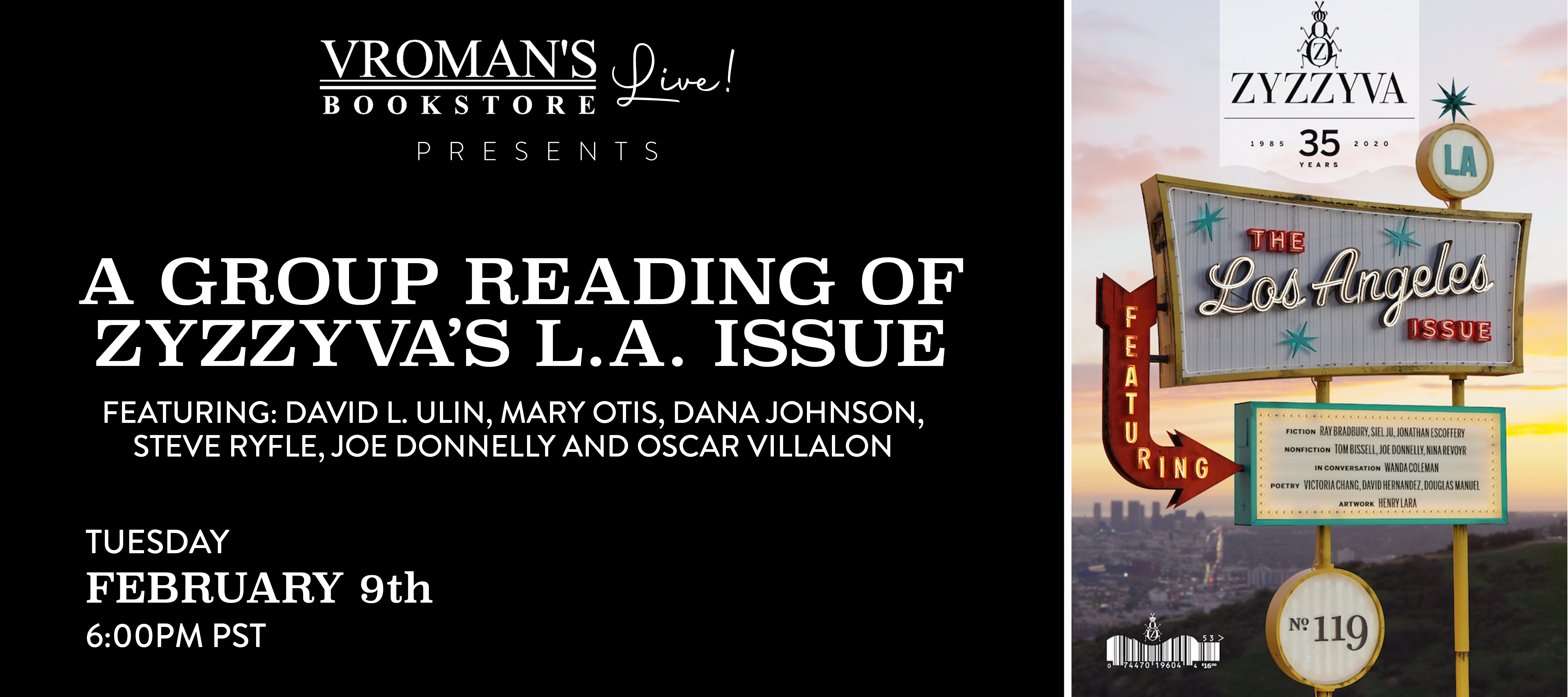 Group reading of ZYZZYVA's LA Issue on Tuesday February 9th at 6pm PST
