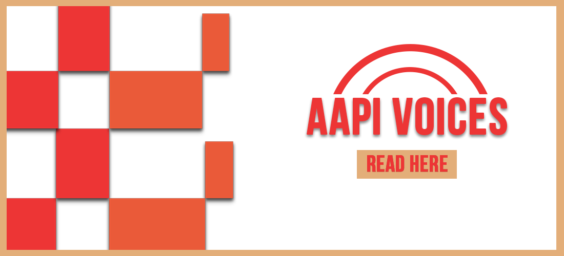 White banner with red and orange checkered background advertising AAPI Voices reading list