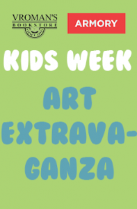 Kids Week Art Extravaganza Banner (green background with white and blue text)
