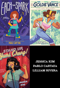 Book covers of Stand Up Yumi Chung, Each Tiny Spark, and Goldie Vance