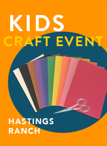 Kids Craft Event at Vroman's Hastings Ranch graphic, orange blackground with a row of colored construction paper and scissors