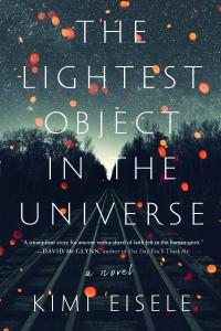 """""""The Lightest Object in the Universe"""" cover, train track sin background, with lights scattered over the title"""